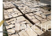 Yellow - hatching, Polygonal paving of natural stone, Gnies
