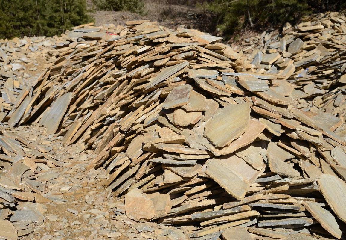 Polygonal plates Unformed Dark yellow - natural stone Gneiss