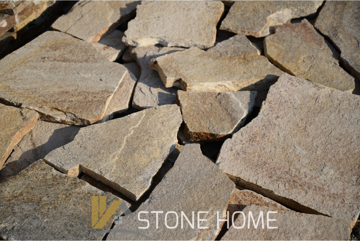 Polygonal plates Unformed Beige - natural stone Gneiss